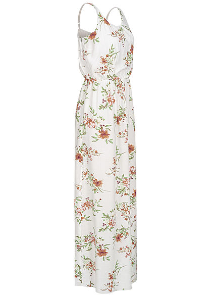 Hailys Damen Maxi Kleid Blumen Print Taillen Gummizug off weiss