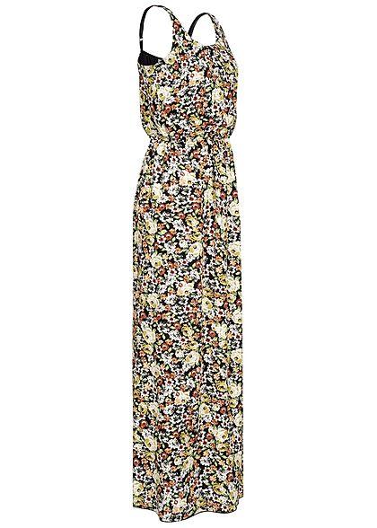 Hailys Damen Maxi Kleid Blumen Print Taillen Gummizug schwarz multicolor