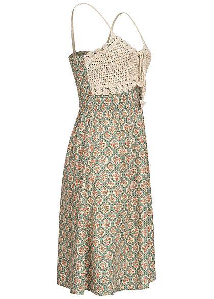 Hailys Damen V-Neck Kleid Häkelbesatz oben Ornament Print Taillengummibund beige