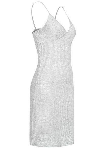 ONLY Damen Ribbed V-Neck Jersey Mini Kleid hell grau melange