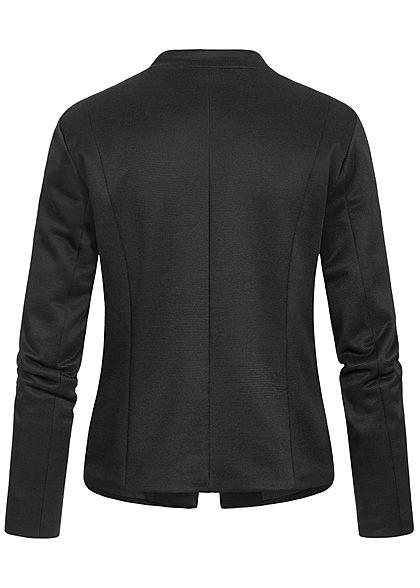 ONLY Damen Blazer 2-Zip Pockets offener Schnitt Streifen Muster schwarz