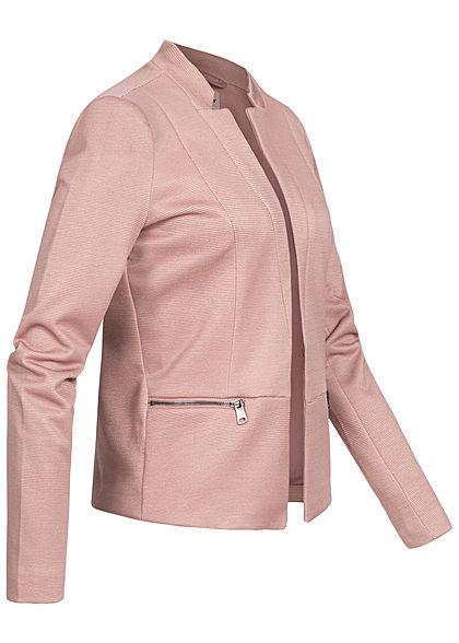 ONLY Damen Blazer 2-Zip Pockets offener Schnitt Streifen Muster burlwood rose