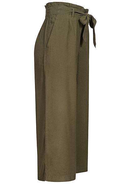 ONLY Damen NOOS High-Waist Paperbag Culotte Stoffhose ink Bindegürtel kalamata oliv grün