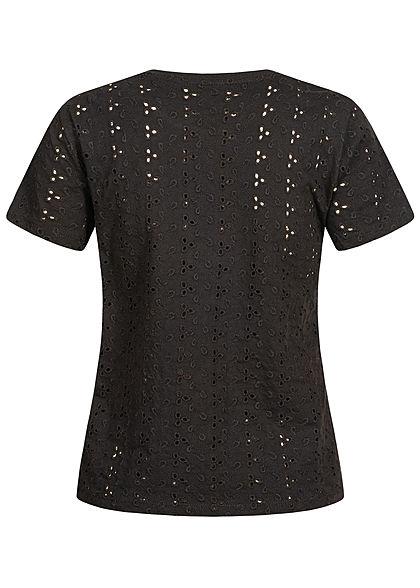 ONLY Damen T-Shirt Lochmuster schwarz