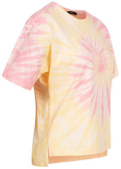 ONLY Damen T-Shirt Vokuhila Batik Print lemon gelb lotus rose