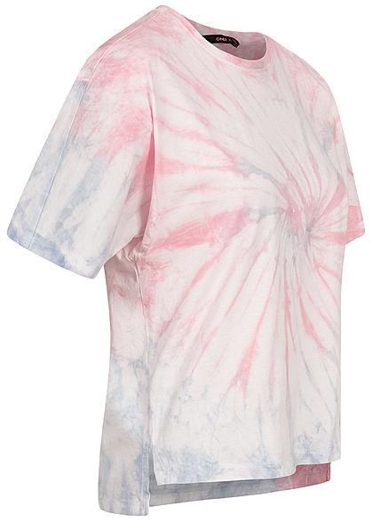 ONLY Damen T-Shirt Vokuhila Batik Print lotus rose vintage indigo blau