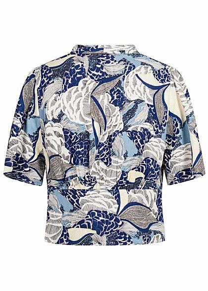 ONLY Damen V-Neck Cropped Bluse Floraler Print Zipper seitlich faded denim blau