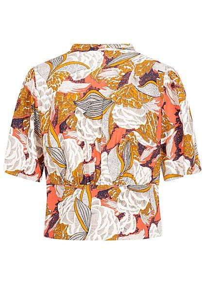 ONLY Damen V-Neck Cropped Bluse Floraler Print Zipper seitlich terra cotta rose mc