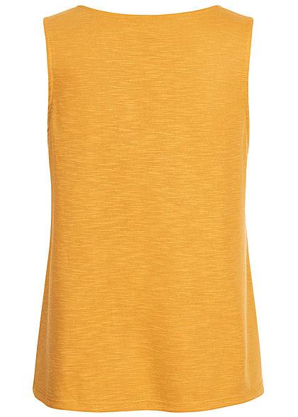 ONLY Damen Top mit Häkelbesatz golden spice gelb melange