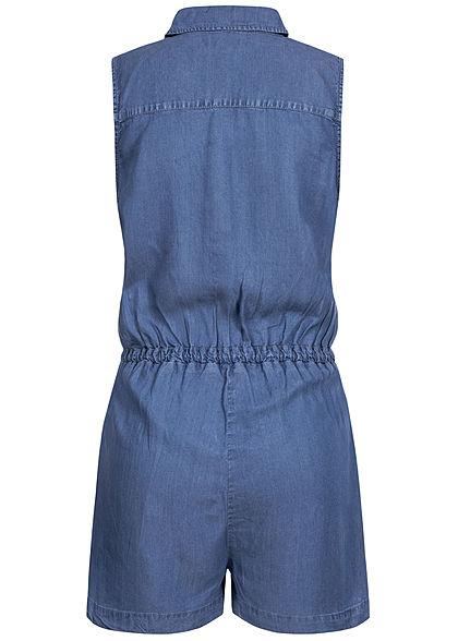 ONLY Damen Denim Playsuit 4-Pockets Knopfleiste Tunnelzug dunkel blau denim