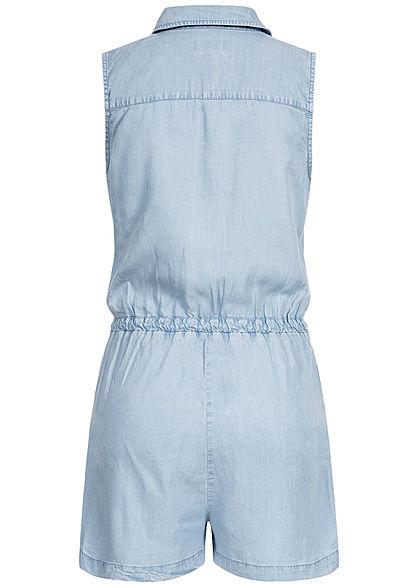 ONLY Damen Denim Playsuit 4-Pockets Knopfleiste Tunnelzug hell blau denim
