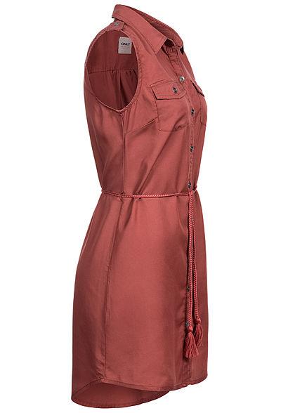 ONLY Damen Mini Kleid Vokuhila Knopfleiste inkl. Bindegürtel 2-Pockets apple butter rot