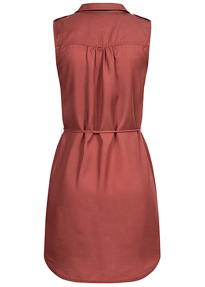 ONLY Damen Mini Kleid Vokuhila Knopfleiste inkl. Bindegürtel 2-Pockets apple butter rot