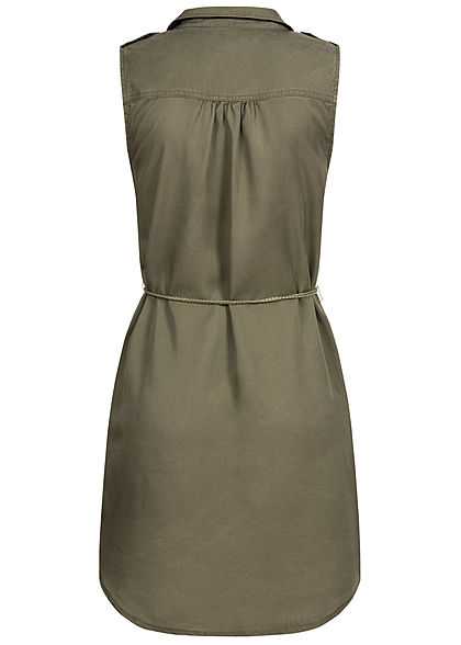 ONLY Damen Mini Kleid Vokuhila Knopfleiste inkl. Bindegürtel 2-Pockets kalamata oliv grün