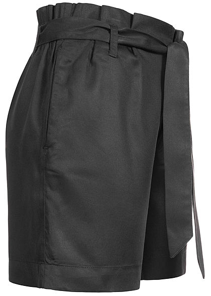 ONLY Damen High Waist Paperbag Shorts inkl. Bindegürtel 2-Pockets schwarz