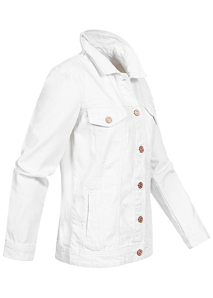 Noisy May Damen Jeans Jacke 4-Pockets bright weiss