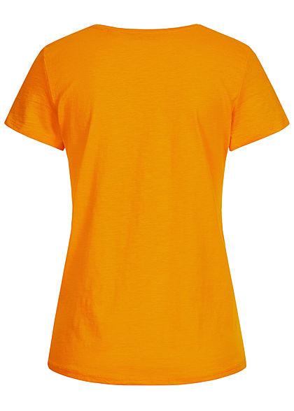Tom Tailor Damen Basic V-Neck T-Shirt mit Stickerei Summer orange gelb