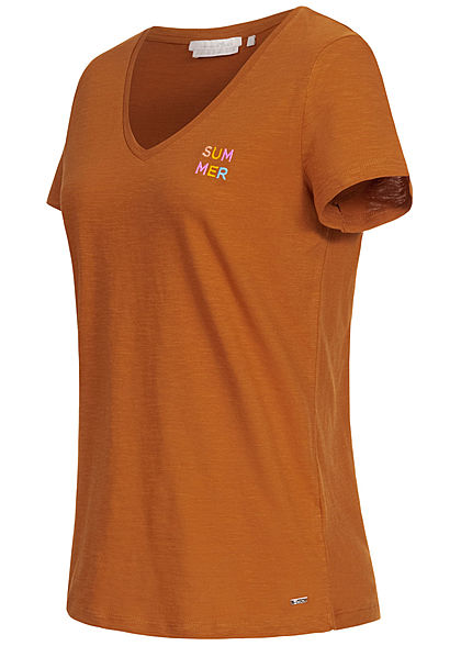 Tom Tailor Damen Basic V-Neck T-Shirt mit Stickerei Summer mango braun