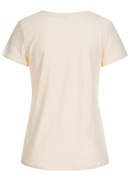 Tom Tailor Damen Basic V-Neck T-Shirt mit Stickerei Summer soft creme beige