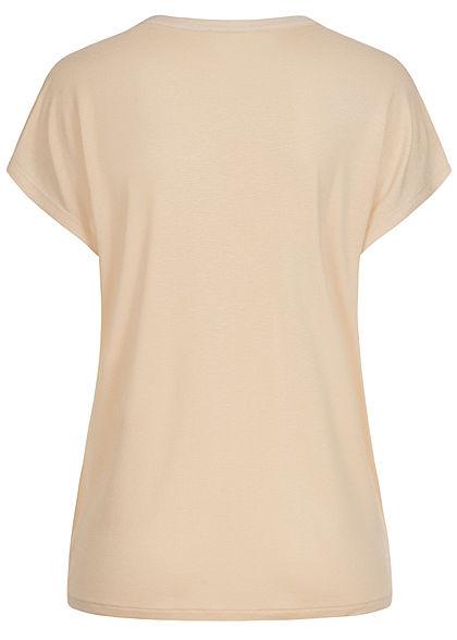 Tom Tailor Damen V-Neck Blusen Shirt Materialmix Knopfleiste soft vanilla beige