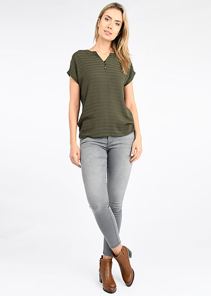 Tom Tailor Damen V-Neck Blusen Shirt Materialmix Knopfleiste woodland grün