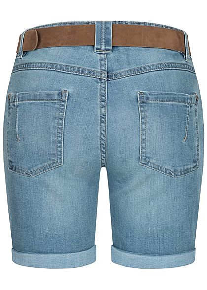 Sublevel Damen Bermuda Jeans Shorts 5-Pockets inkl. Velour Leder Gürtel hell blau denim