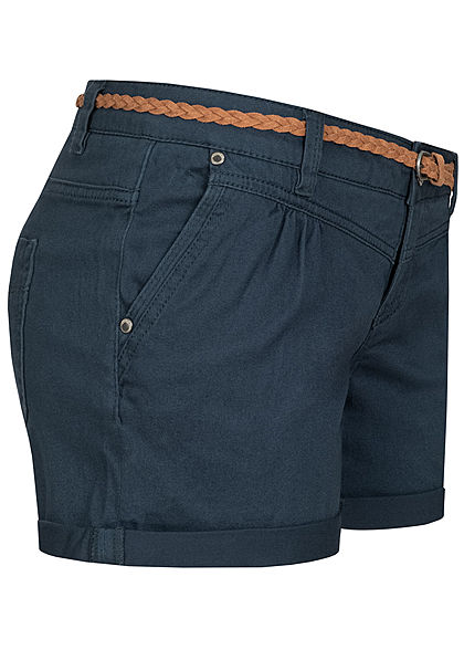 Sublevel Damen kurze Shorts 4-Pockets inkl. Flechtgürtel navy blau