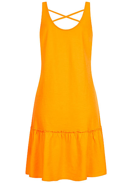 Tom Tailor Damen Jersey Kleid weiter Rock Kreuzung hinten orange gelb