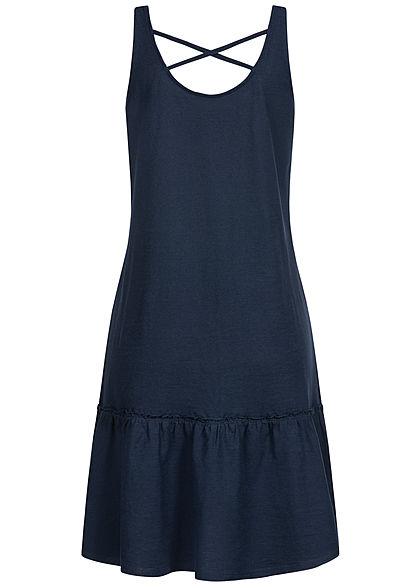 Tom Tailor Damen Jersey Kleid weiter Rock Kreuzung hinten real navy blau