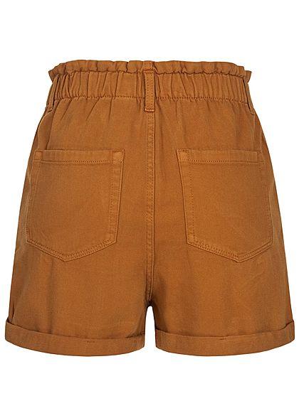 Tom Tailor Damen Paperbag Twill Shorts 4-Pockets Beinumschlag mango braun