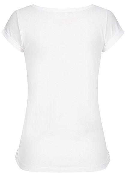 Urban Surface Damen T-Shirt Brusttasche Schnürausschnitt weiss