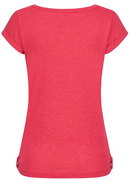 Urban Surface Damen T-Shirt Brusttasche Schnürausschnitt melon pink melange