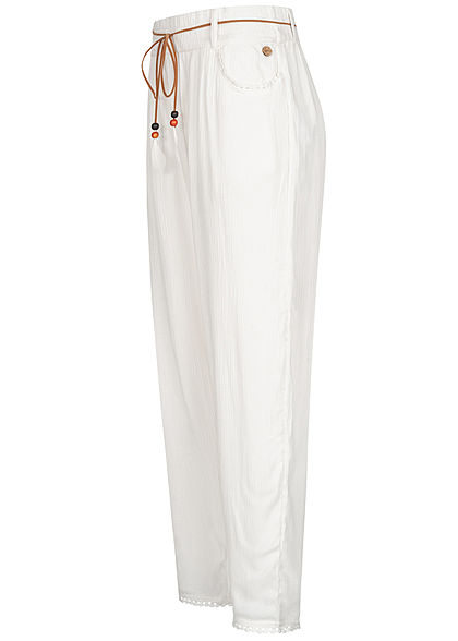 Eight2Nine Damen Sommer Hose 2-Pockets inkl. Feder Gürtel off weiss