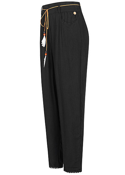 Eight2Nine Damen Sommer Hose 2-Pockets inkl. Feder Gürtel schwarz