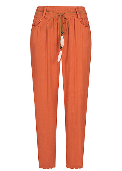 Eight2Nine Damen Sommer Hose 2-Pockets inkl. Feder Gürtel autumn orange