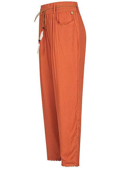 Eight2Nine Damen Sommer Hose 2-Pockets inkl. Feder Gürtel autumn orange