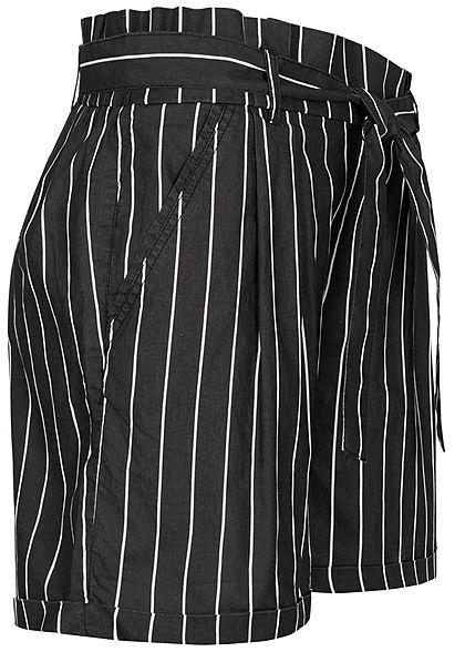 Eight2Nine Damen Paperbag Shorts inkl. Bindegürtel Streifen Muster schwarz weiss