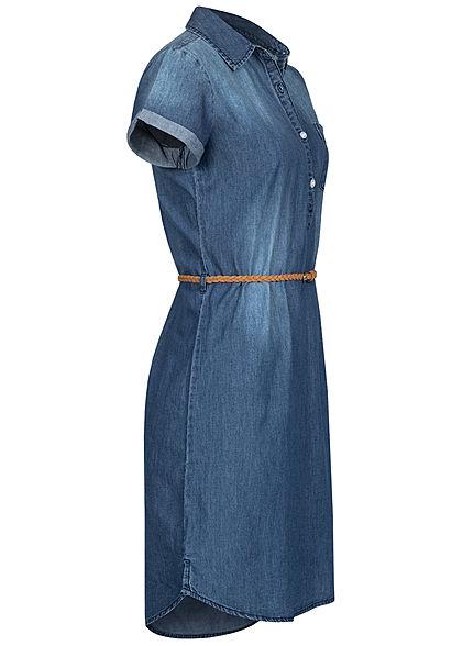 Eight2Nine Damen Denim Kleid inkl. Flechtgürtel Knopfleiste medium blau denim