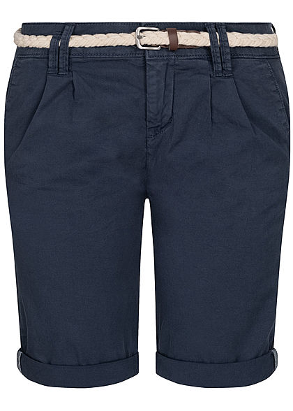 Eight2Nine Damen Chino Bermuda Shorts inkl. Flechtgürtel stormy dunkel blau