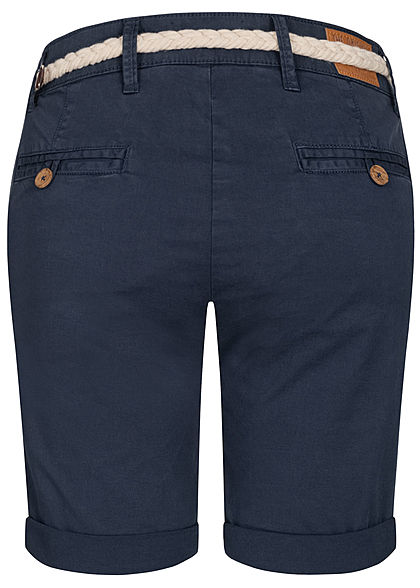 Eight2Nine Damen Chino Bermuda Shorts inkl. Flechtgürtel stormy dunkel blau