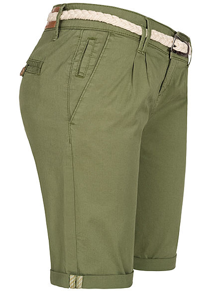 Eight2Nine Damen Chino Bermuda Shorts inkl. Flechtgürtel oliv grün