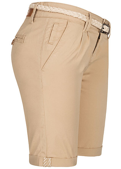 Eight2Nine Damen Chino Bermuda Shorts inkl. Flechtgürtel safari beige