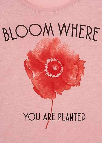 Sublevel Damen Oversized T-Shirt Blumen Print mit Spruch old rosa