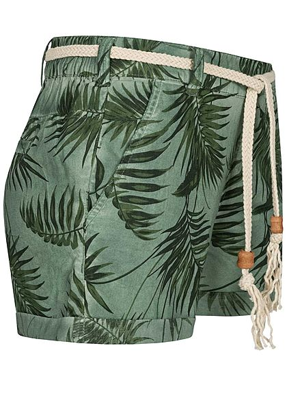 Eight2Nine Damen Shorts 4-Pockets inkl. Flechtgürtel Floraler Print mineral grün
