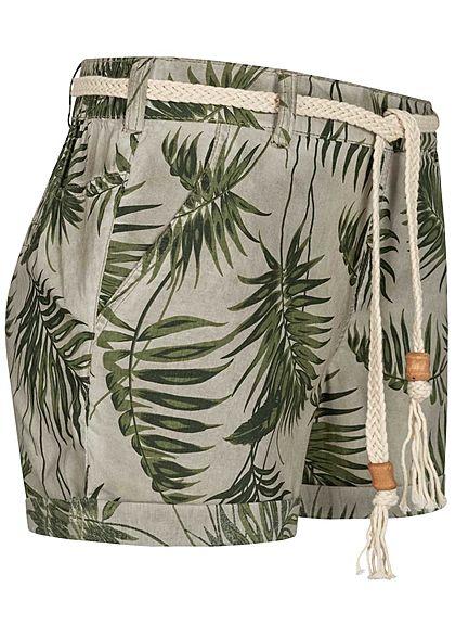 Eight2Nine Damen Shorts 4-Pockets inkl. Flechtgürtel Floraler Print birch beige