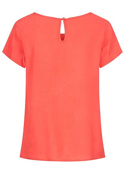 Sublevel Damen Blusen Shirt lockerer Schnitt coral dunkel pink