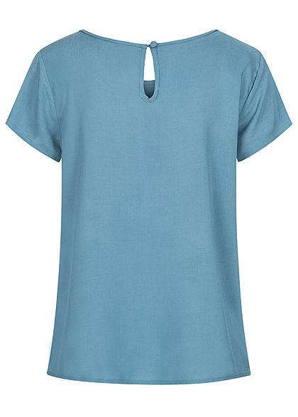 Sublevel Damen Blusen Shirt lockerer Schnitt cerulean blau