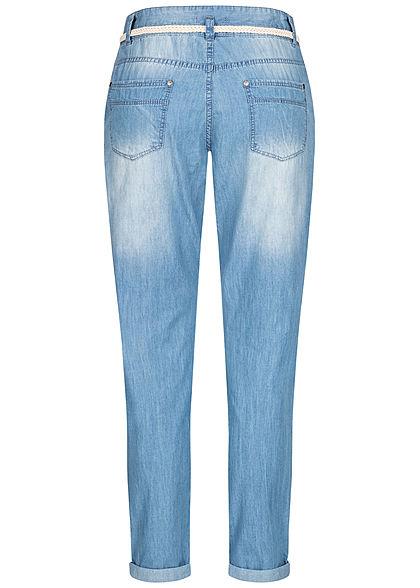 Eight2Nine Damen Denim Hose 5-Pockets inkl. Flechtgürtel hell blau