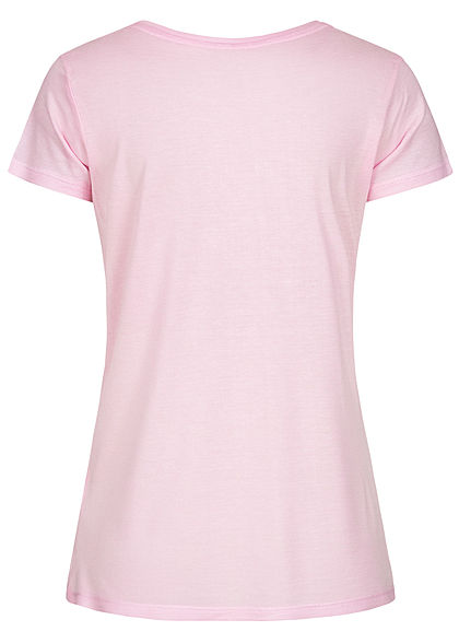 Stitch and Soul Damen Viskose T-Shirt Summer Print parfait rosa