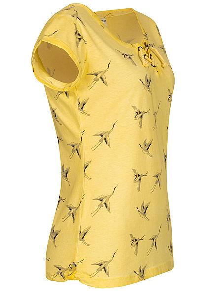 Fresh Made Damen T-Shirt Vogel Print Schnürausschnitt mimosa gelb
